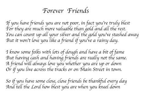 Best friends forever poems for girls a friends forever poem